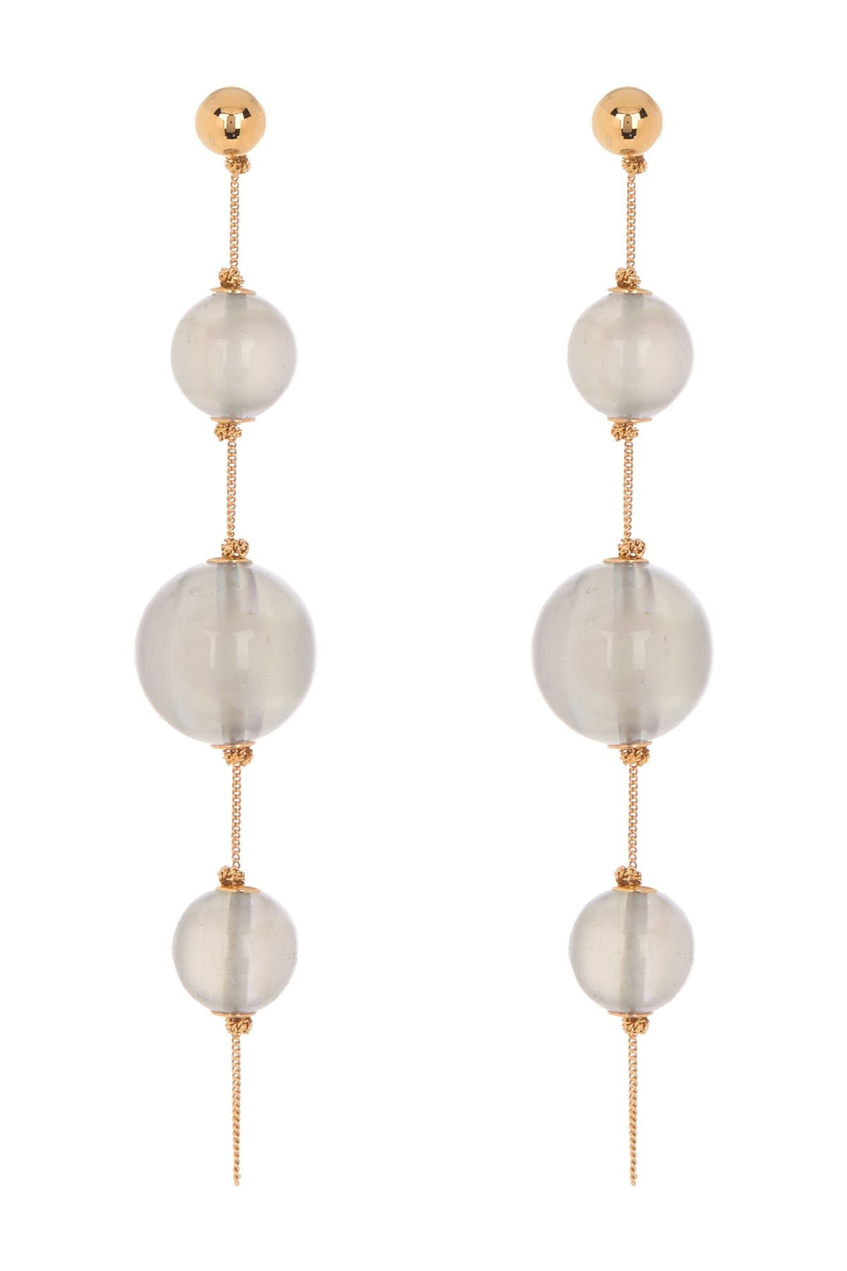 Burberry Triple Orb Chain Drop Earrings In Brown