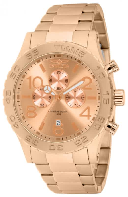 Invicta Elegant Ocean Chronograph Rose Dial Rose Gold-tone Mens Watch 1271 In Beige,gold Tone,pink,rose Gold Tone