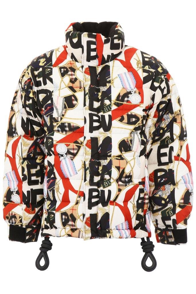 Burberry Mens Graffiti Print Puffer Jacket In N,a