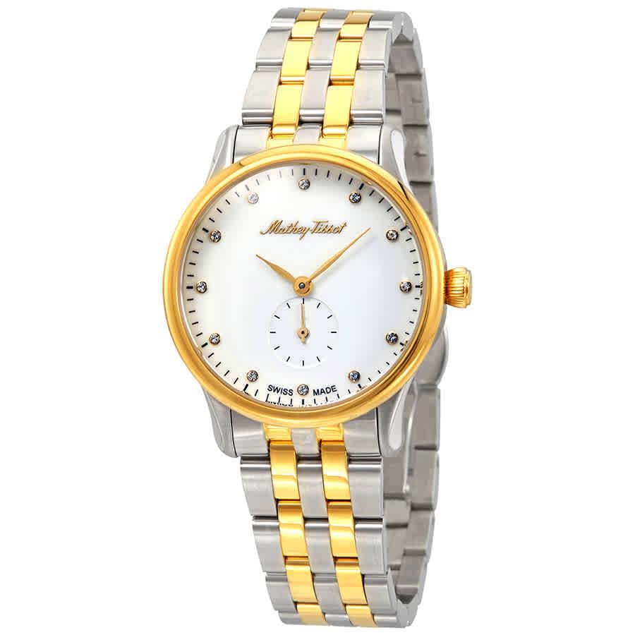 Mathey-tissot Edmond Metal Crystal White Dial Ladies Watch D1886mbi In Metallic