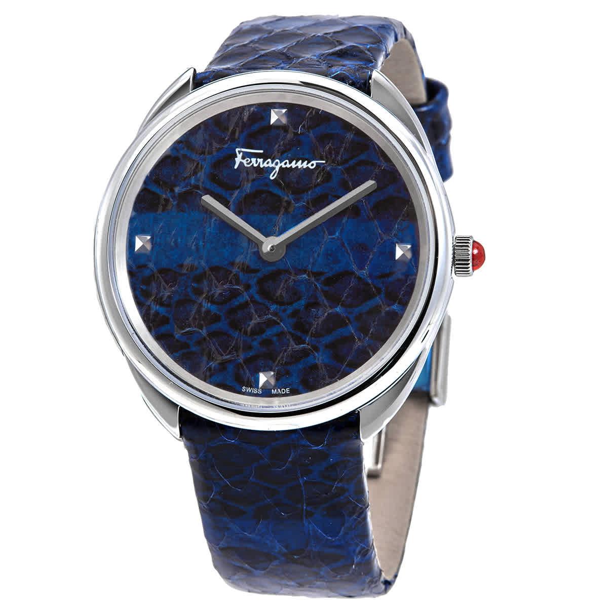 Salvatore Ferragamo Ferragamo Cuir Quartz Blue Dial Ladies Watch Sfay00119 In Blue,silver Tone