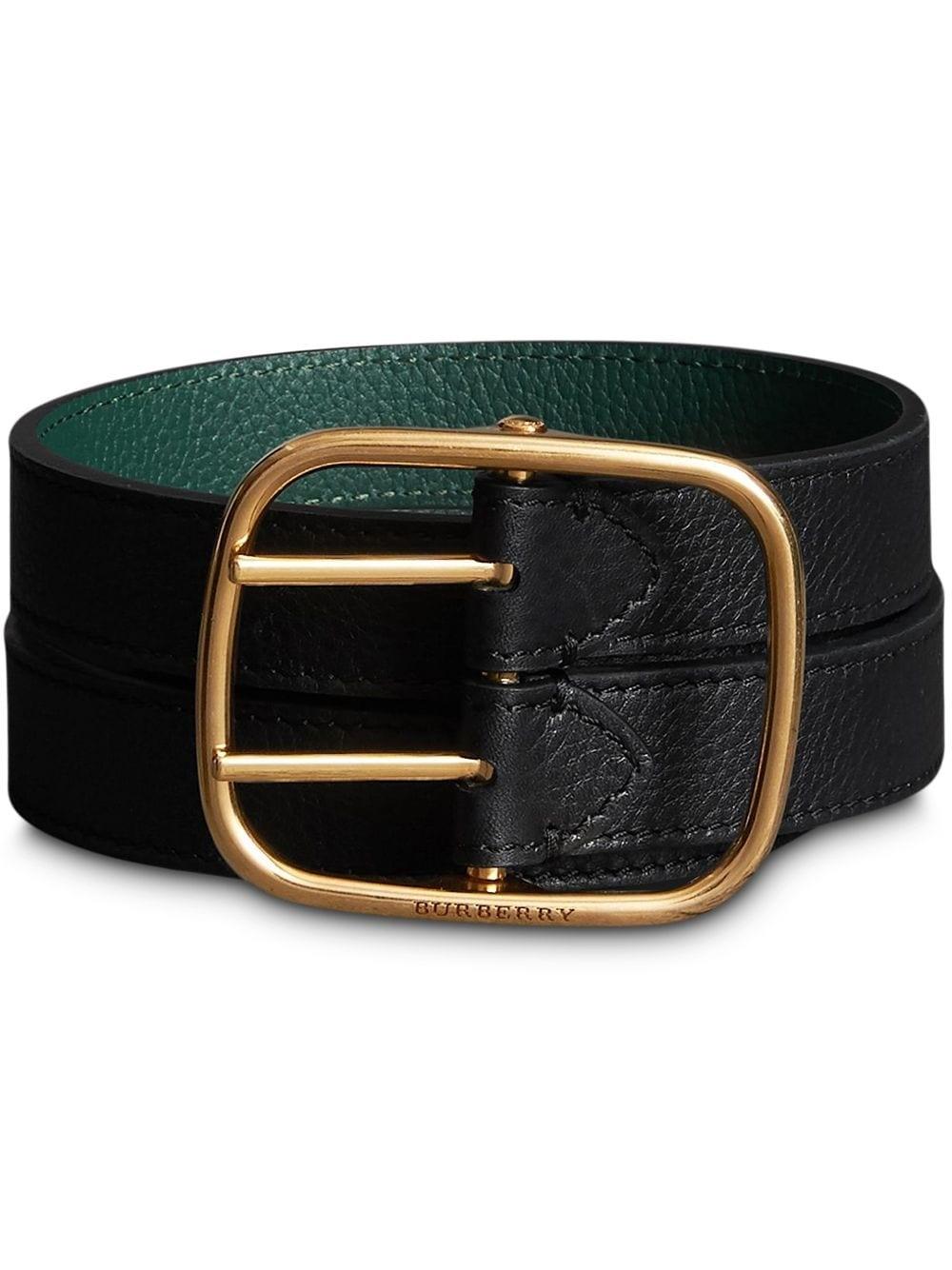 Burberry Ladies Lynton Dual Pronged Leather Belt In Black,green