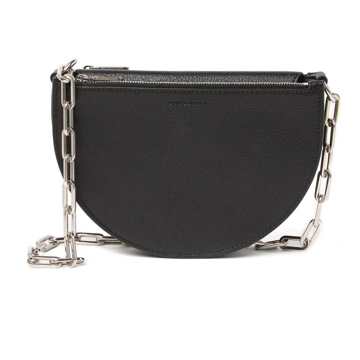 Burberry Pecan Chain Strap Leather Shoulder Bag In Black