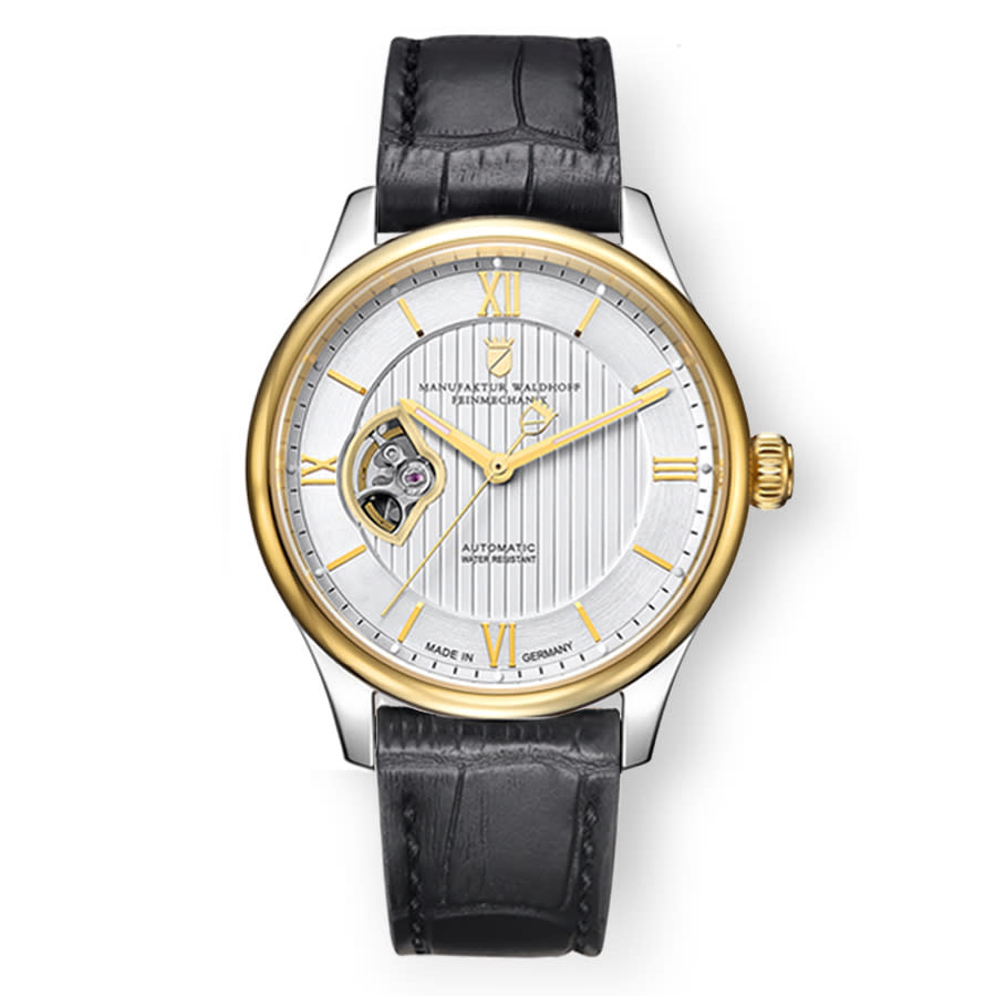 Waldhoff Regent Automatic Silver Dial Mens Watch 02f In Black,gold Tone,silver Tone,yellow