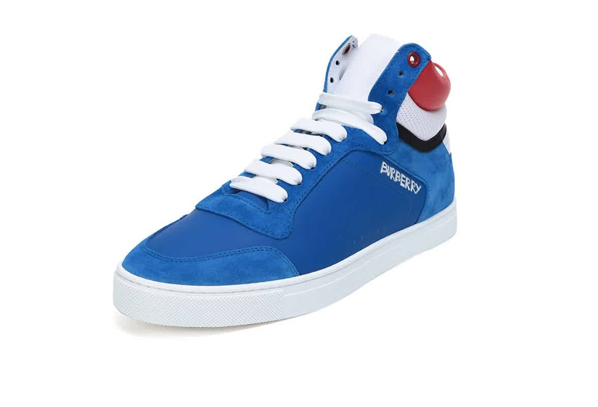Burberry Mens Leather High-top Sneakers In Bright Sky Blue In Blue,red