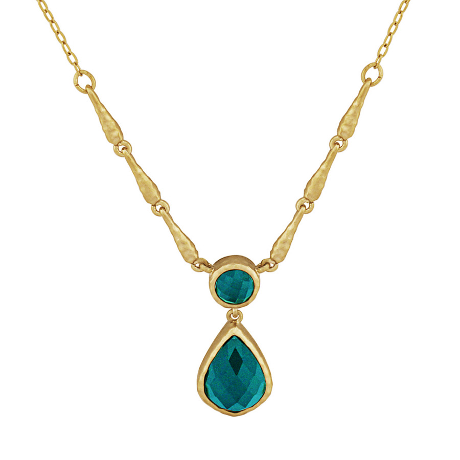 Envie 18k Yellow Gold Over Bronze Green Agate Doublet Hammered Texture Necklace In Brown,gold Tone,green,yellow