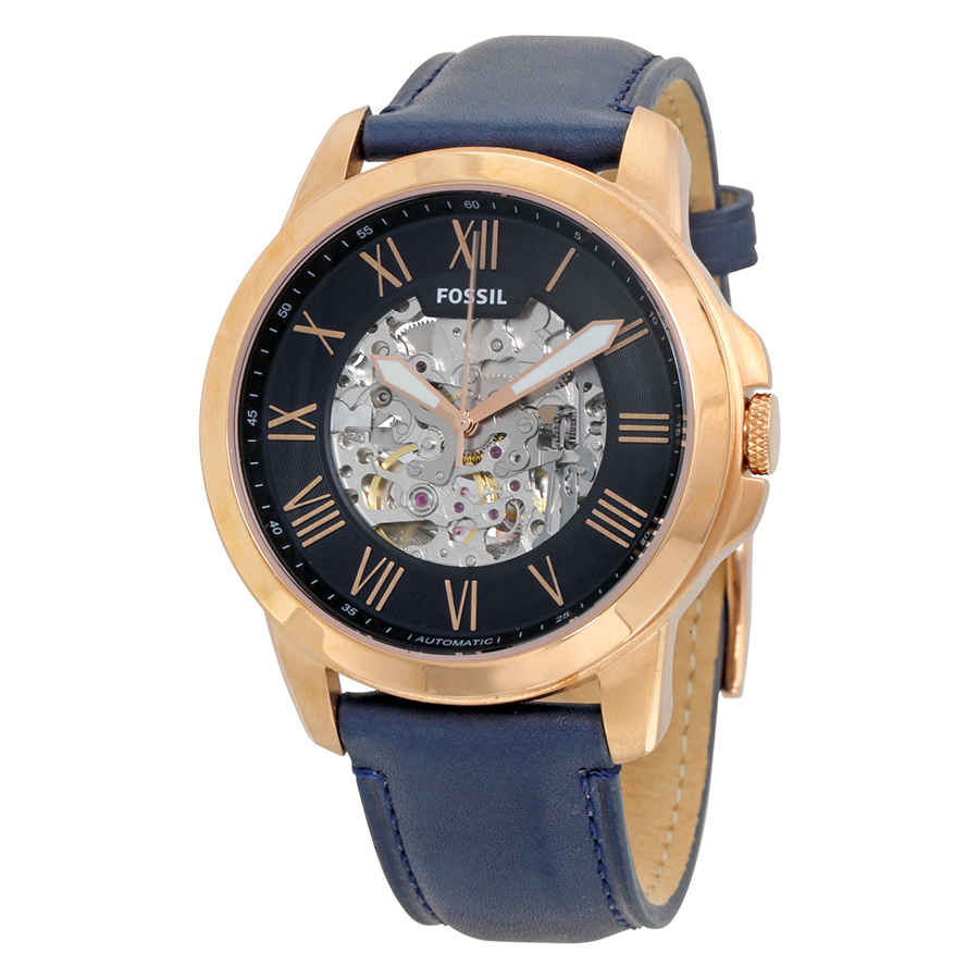 Fossil Grant Automatic Navy Blue Skeleton Dial Mens Watch Me3102 In Blue,gold Tone,pink,rose Gold Tone