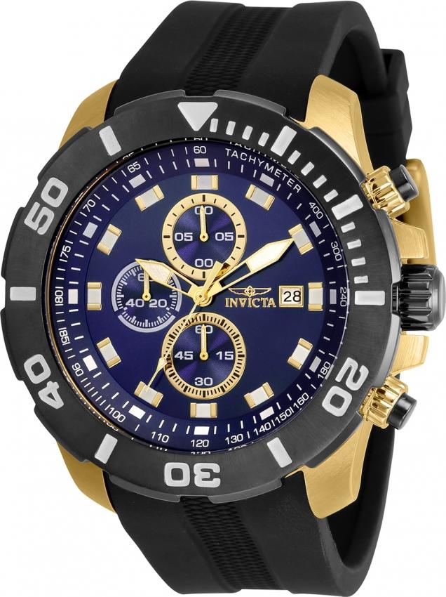 Invicta Pro Diver Chronograph Quartz Blue Dial Mens Watch 30737 In Black,blue,gold Tone,yellow