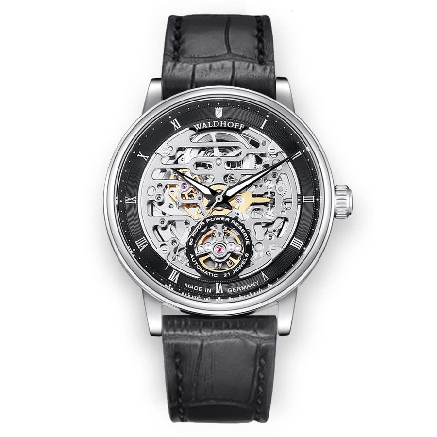 Waldhoff Capital Black Dial Black Leather Mens Watch 06c