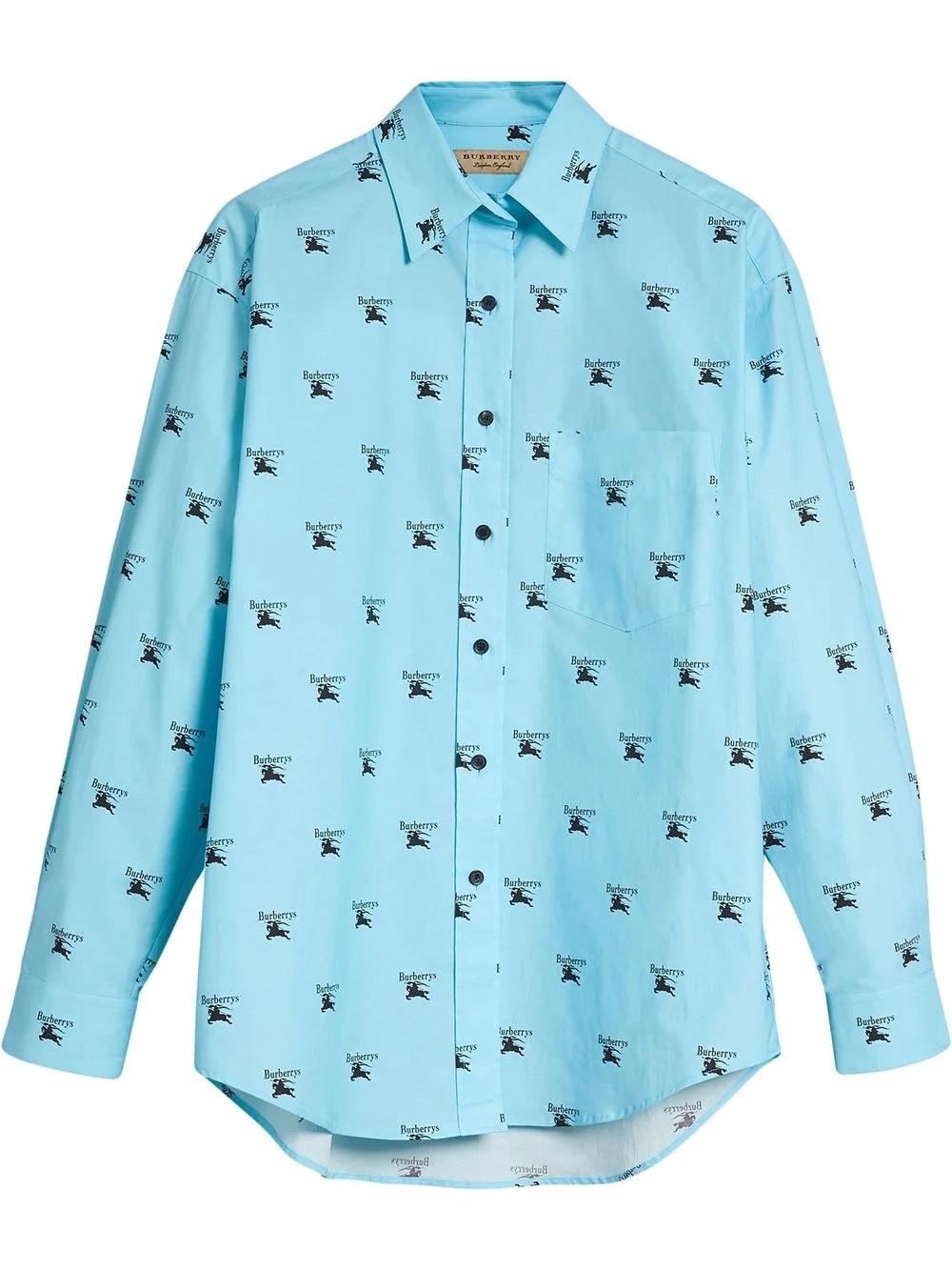 Burberry Ladies Sky Blue Logo Print Stretch Cotton Shirt