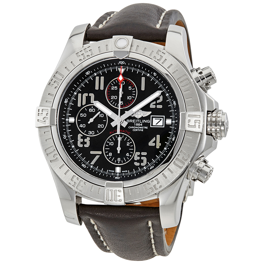 BREITLING PRE-OWNED BREITLING SUPER AVENGER II CHRONOGRAPH AUTOMATIC CHRONOMETER BLACK DIAL MENS WATCH A133711