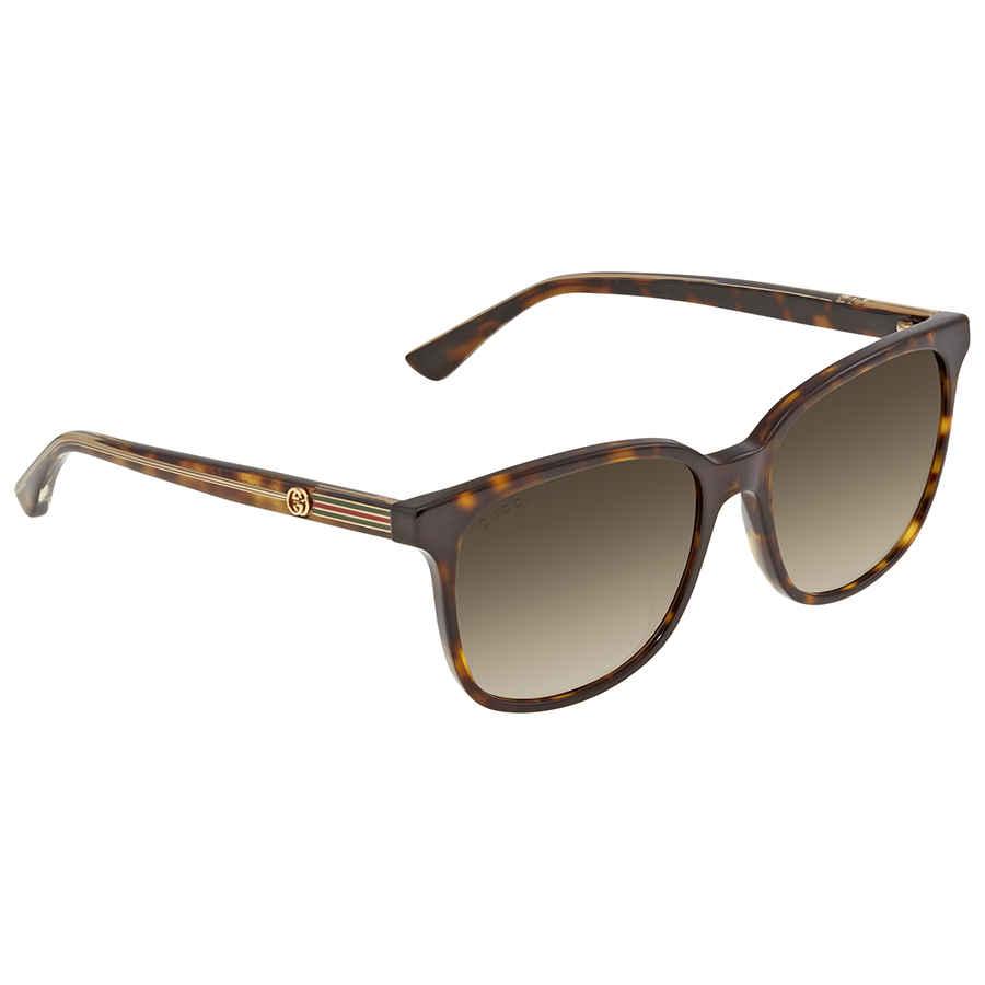 Gucci Brown Gradient Rectangular Ladies Sunglasses Gg0376s 002 54
