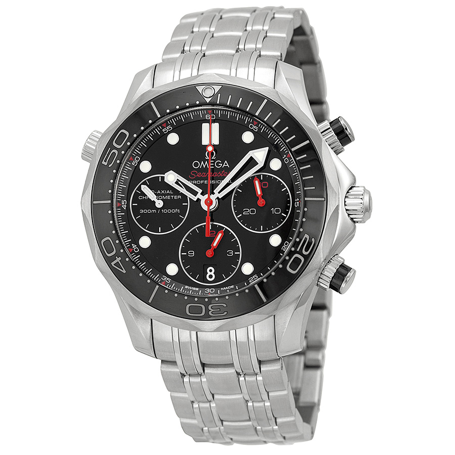 OMEGA PRE-OWNED OMEGA SEAMASTER DIVER 300 CO-AXIAL CHRONOGRAPH AUTOMATIC CHRONOMETER BLACK DIAL MENS WATCH