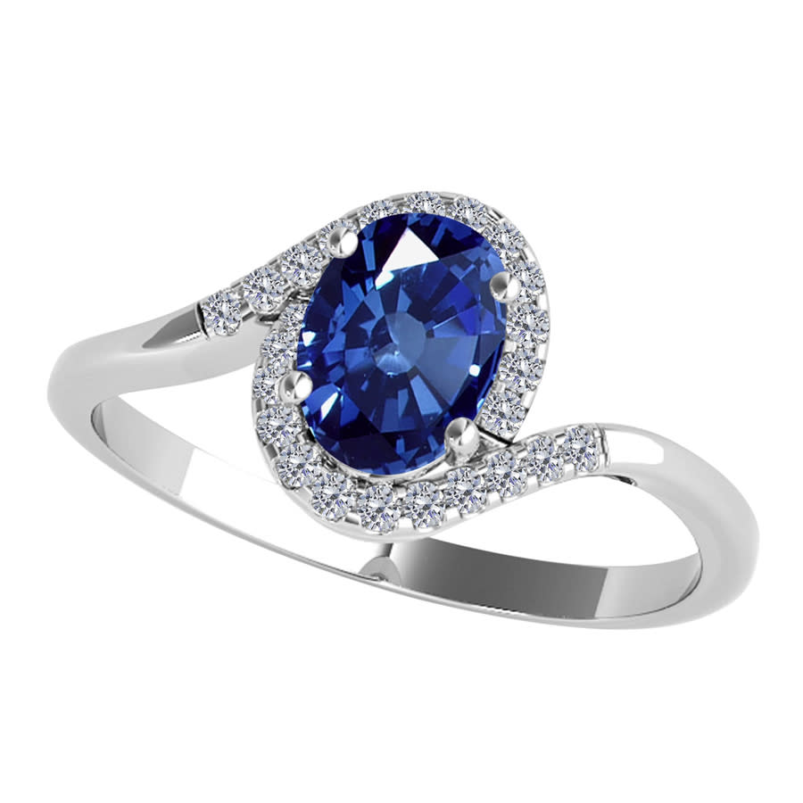 Maulijewels 1.00 Carat Oval Shape Sapphire & Diamond Gemstone Ring In 10k Solid White Gold In Blue
