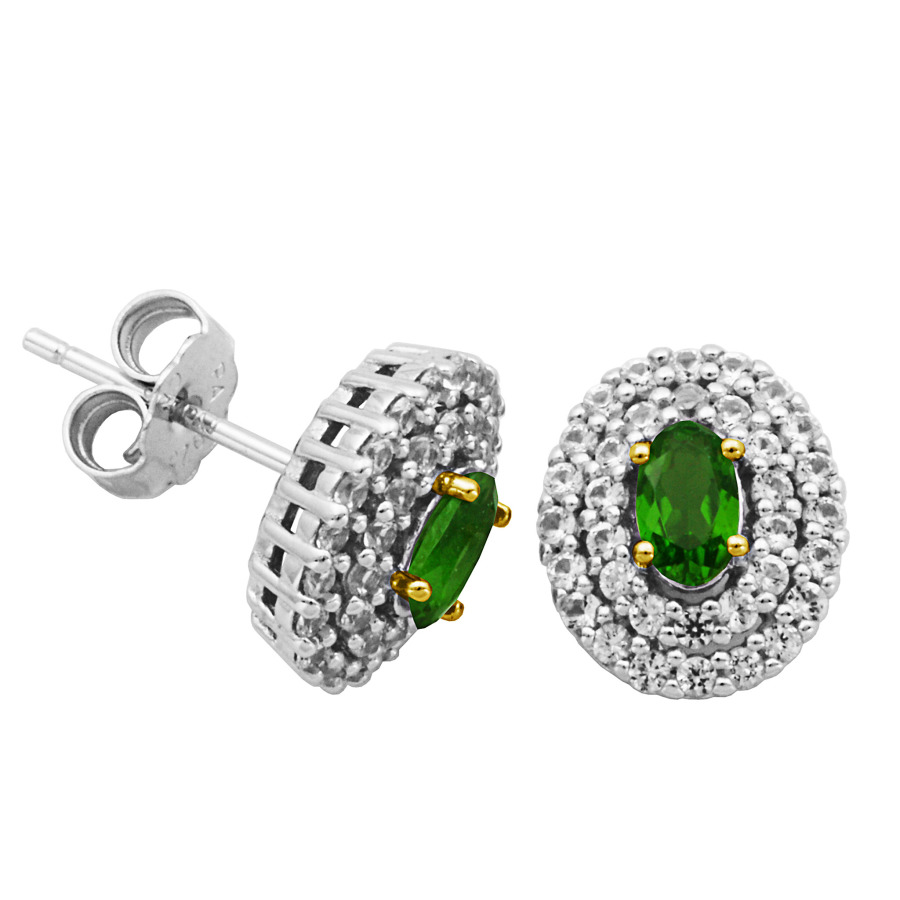 925 Couture 18k Yellow Gold And Rhodium Plated Sterling Silver Chrome Diopside Created White Sapphire Double Hal In Gold Tone,silver Tone,white,yellow