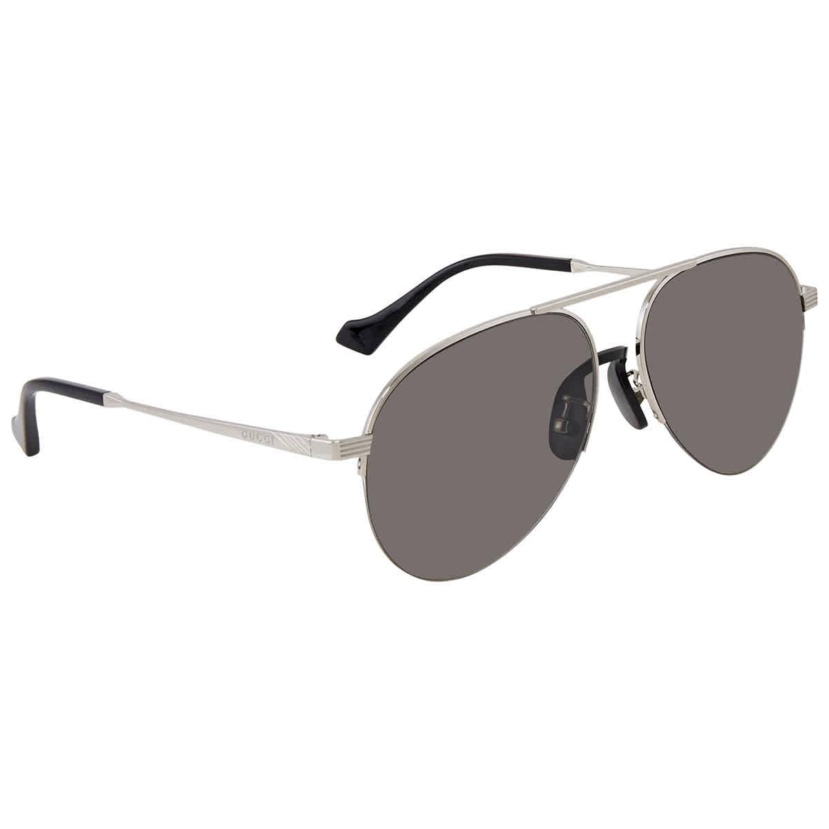 Gucci Grey Aviator Sunglasses Gg0742s-001 58 In Grey,silver Tone