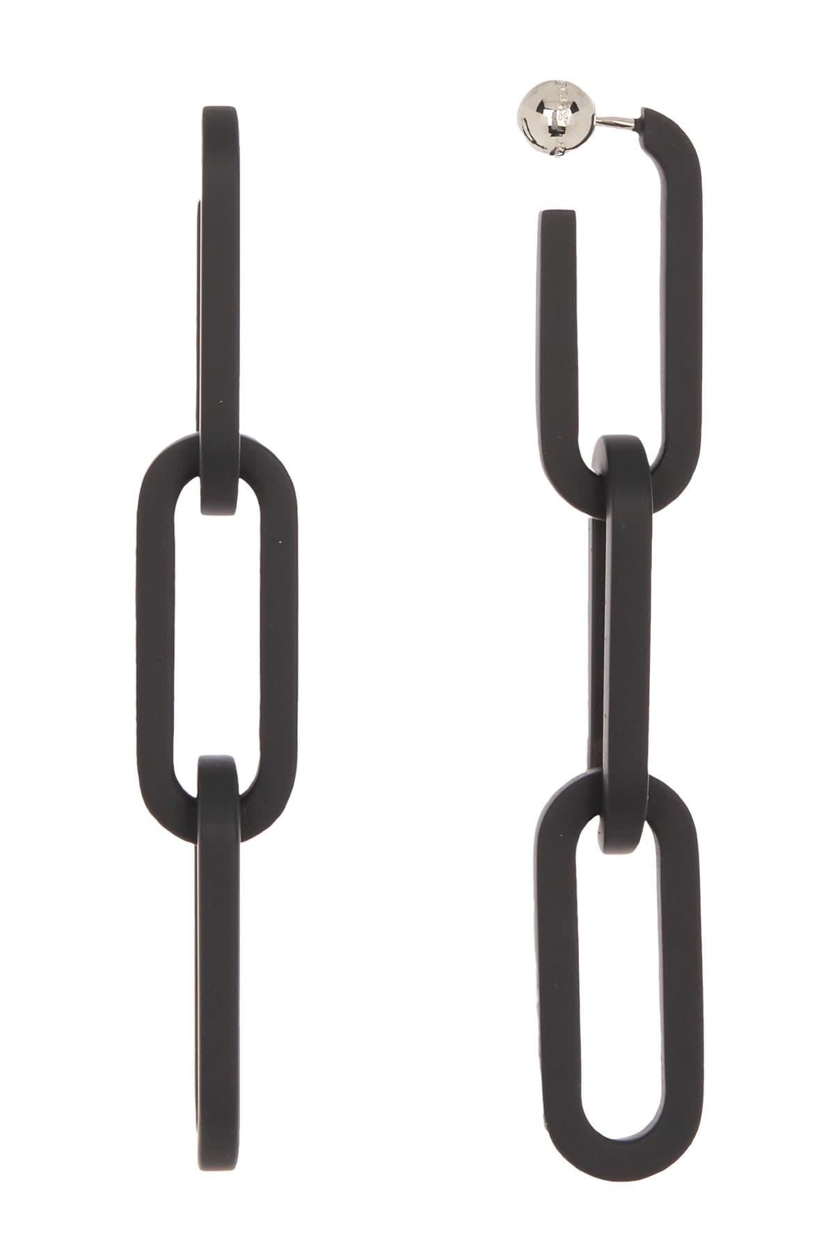 Burberry Ladies Black Chain Link Drop Earrings