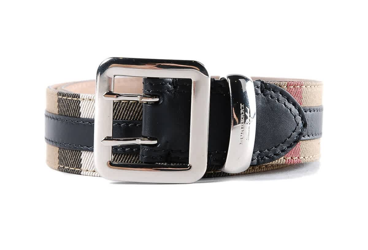 Burberry Topstitched House Check And Leather Belt In Multi