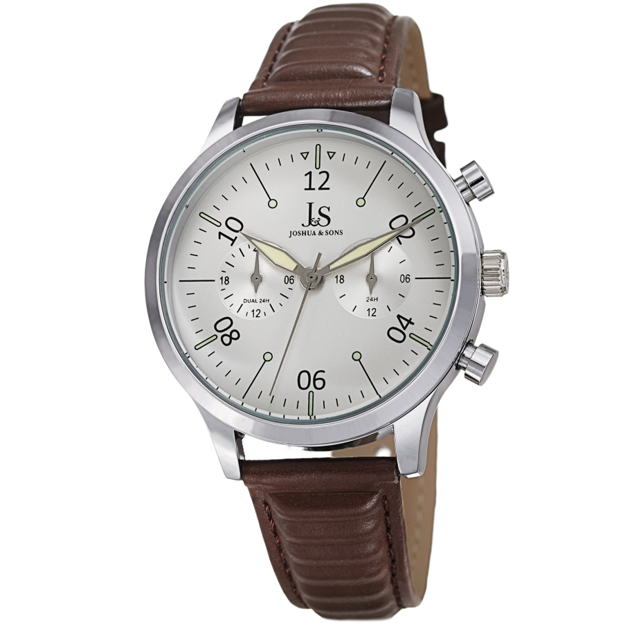 Joshua And Sons Quartz White Dial Mens Watch Jx146ssbr In Brown