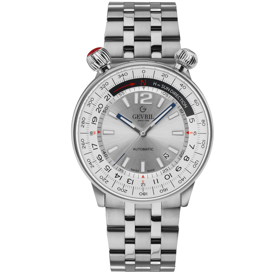 Gevril Wallabout Automatic Silver Dial Mens Watch 48560 In Metallic