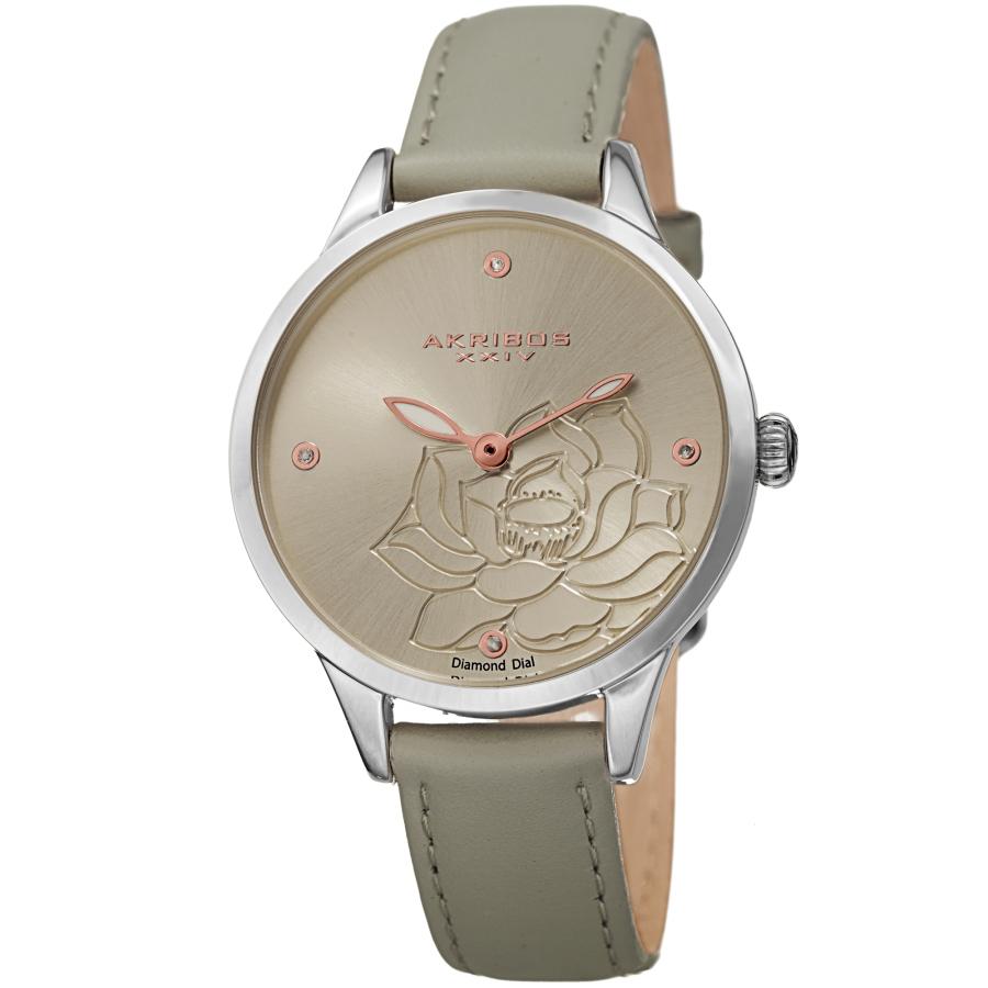 Akribos Xxiv Quartz Diamond Grey Dial Ladies Watch Ak1047gy In Gray