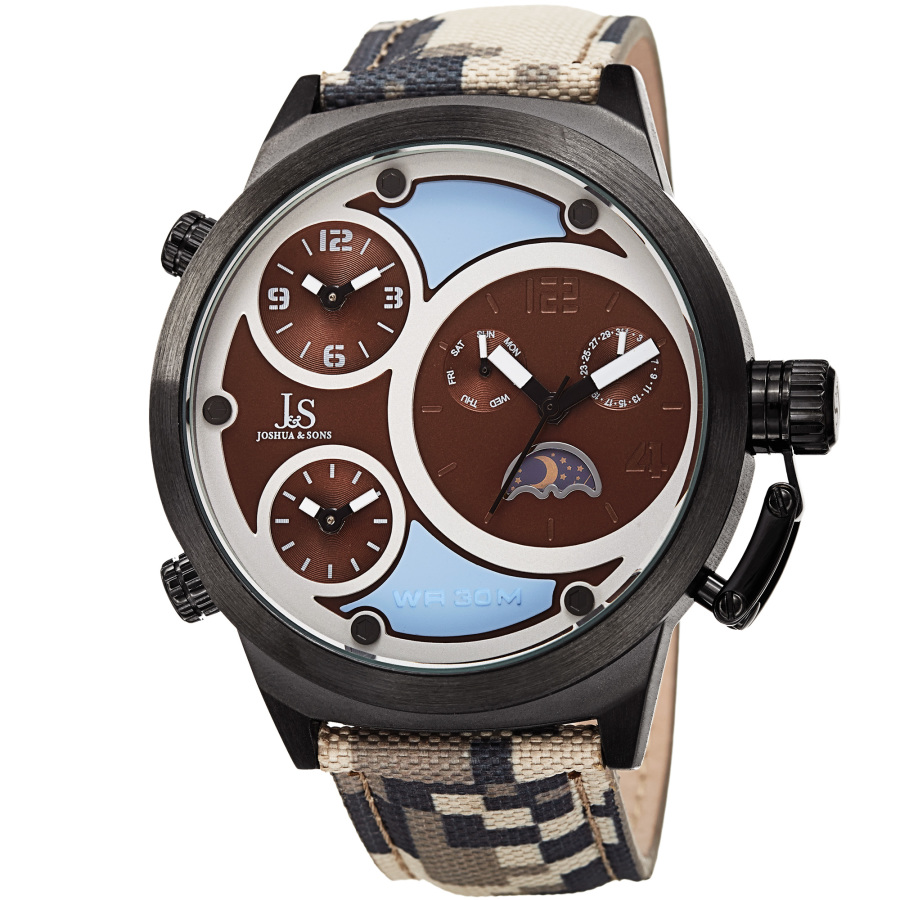 Joshua And Sons Quartz Triple Time Zone Dial Mens Watch Jx131br In Black,blue,brown