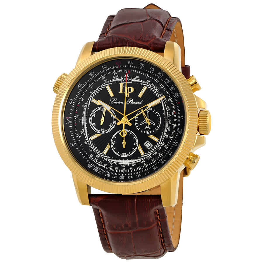 Lucien Piccard Chronograph Black Dial Mens Watch 10049-yg-01-set In Black,brown,gold Tone,yellow