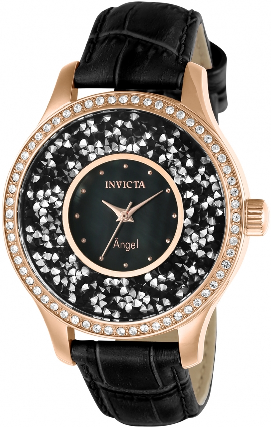 Invicta Angel Black Dial Black Leather Ladies Watch 24565 In Gold