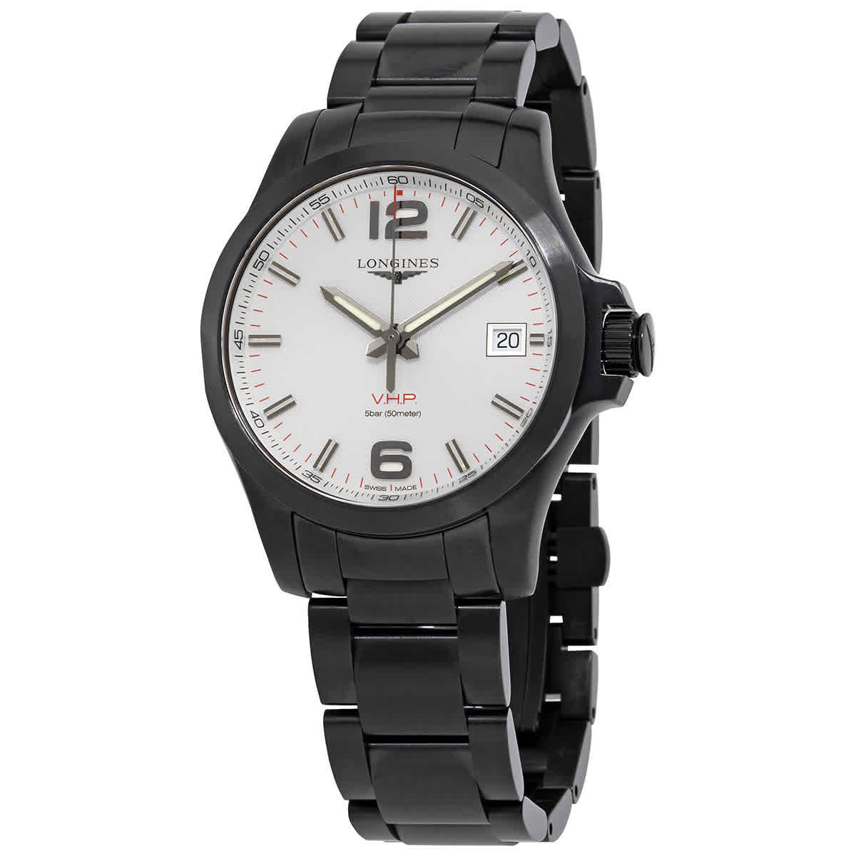 Longines Conquest V.h.p. Quartz Silver Dial Mens Watch L3.716.2.76.6 In Black,silver Tone