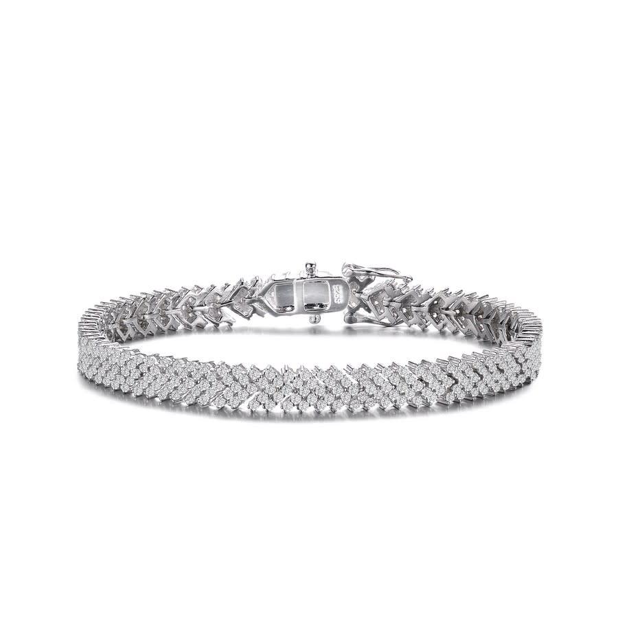 Megan Walford Sterling Silver Clear Cubic Zirconia Cluster Arrow Tennis Bracelet In Silver Tone,white