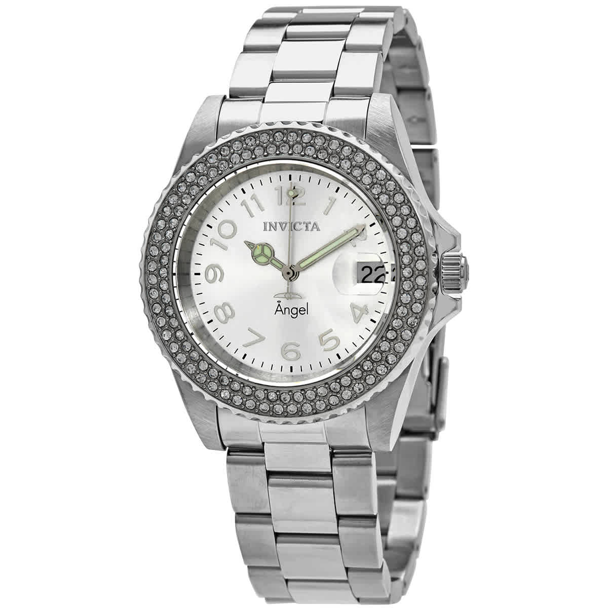 Invicta Angel Quartz Crystal Silver Dial Ladies Watch 28672 In Metallic
