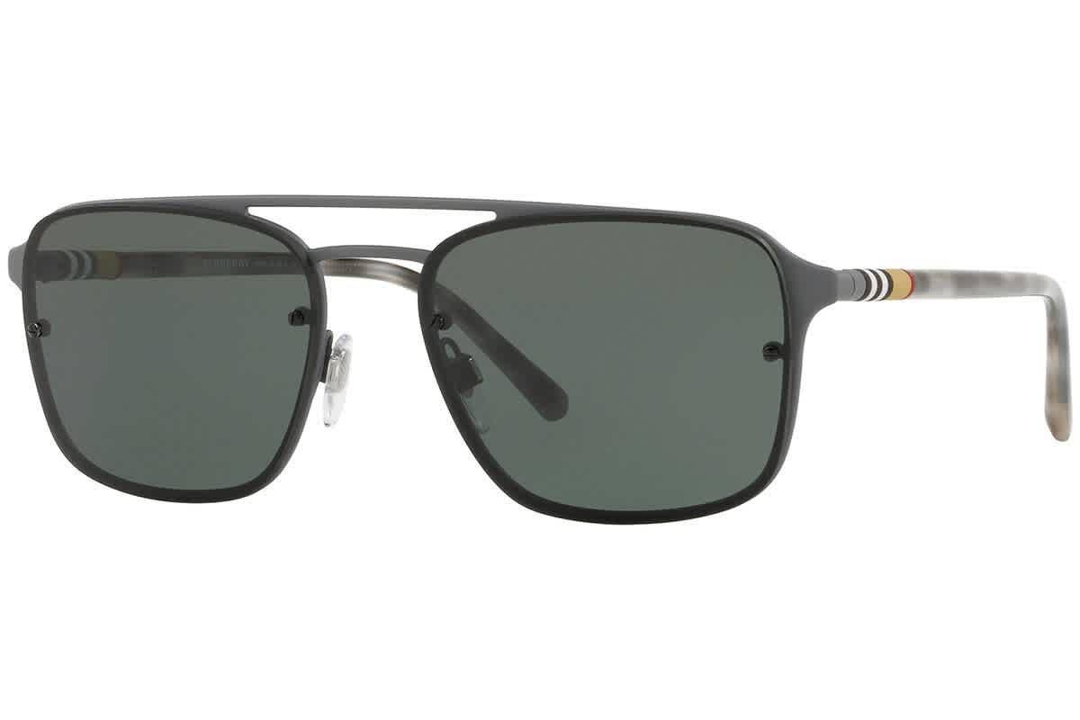 Burberry Green Square Mens Sunglasses Be3095 12595u 56 In Green,grey