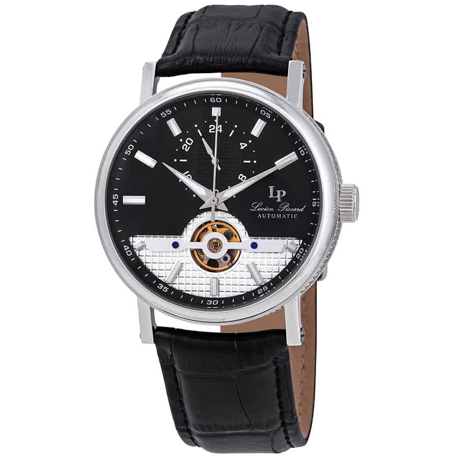 Lucien Piccard Open Heart 24 Automatic Black Dial Mens Watch Lp-28002a-01 In Black,silver Tone