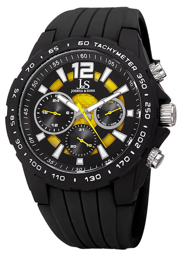 Joshua And Sons Joshua & Sons Multifunction Black And Yellow Dial Mens Watch Jx126bkyl