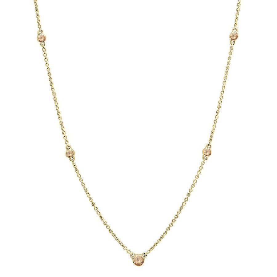 Dazzling Rock Dazzlingrock Collection 0.30 Carat (ctw) 10k Round Champagne Diamond Ladies Necklace 1/3 Ct In Beige,gold Tone,yellow