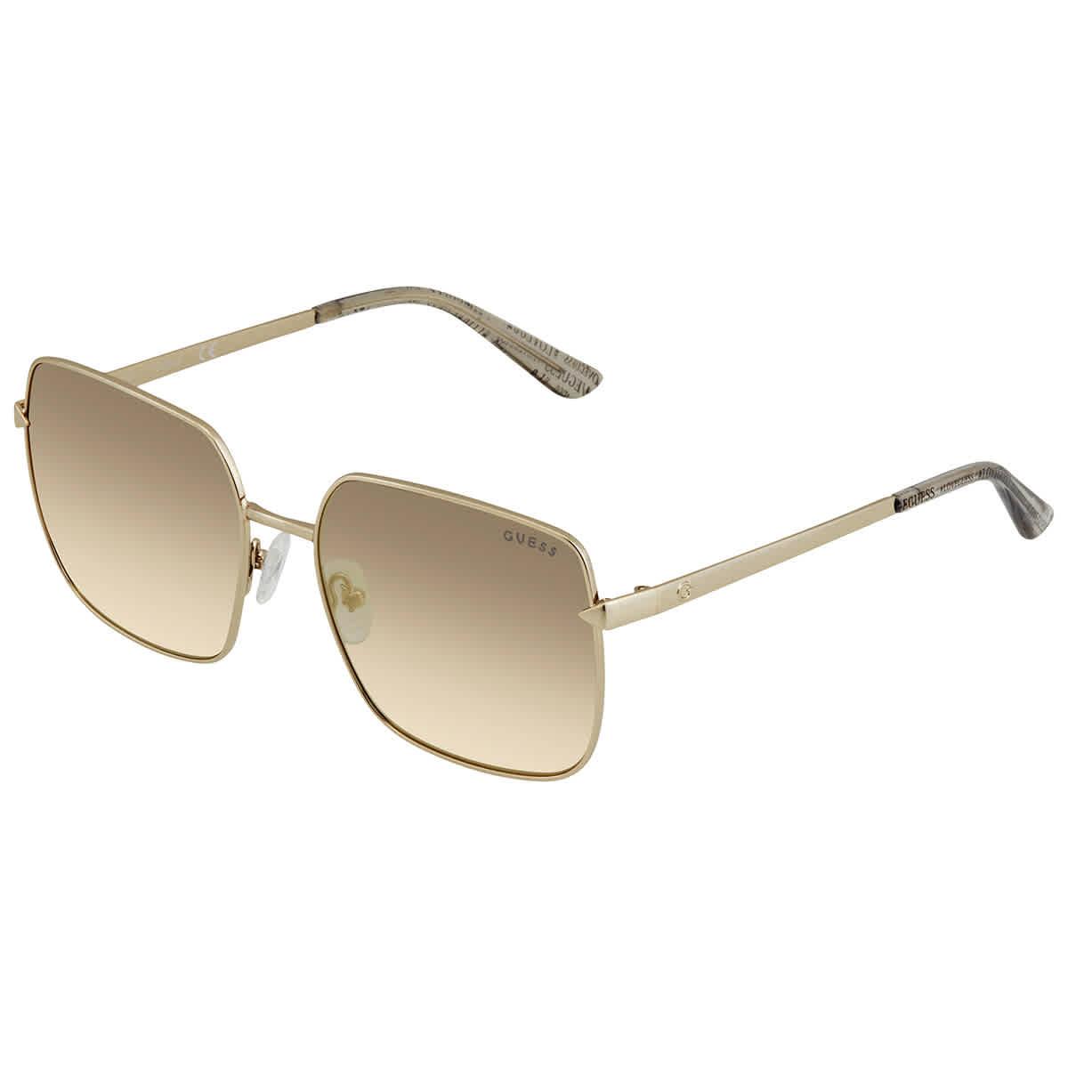 Guess Ladies Gold Tone Square Sunglasses Gu761532c56 In Transparent