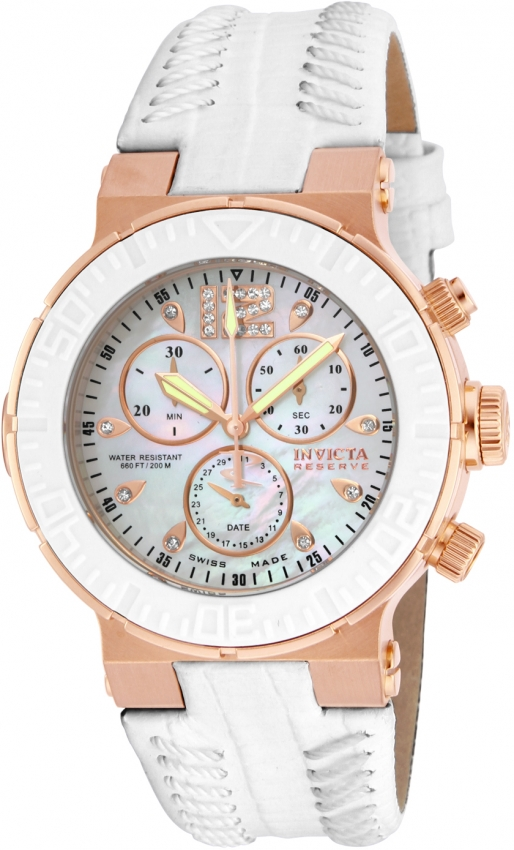 Invicta Ocean Reef Chronograph White Mother Of Pearl Dial Ladies Watch 10731