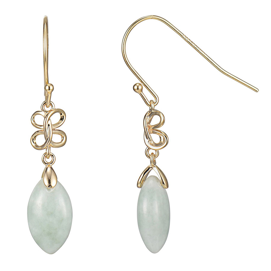 925 Couture 18k Yellow Gold Plated Sterling Silver Genuine Green Jade Dangle Earrings
