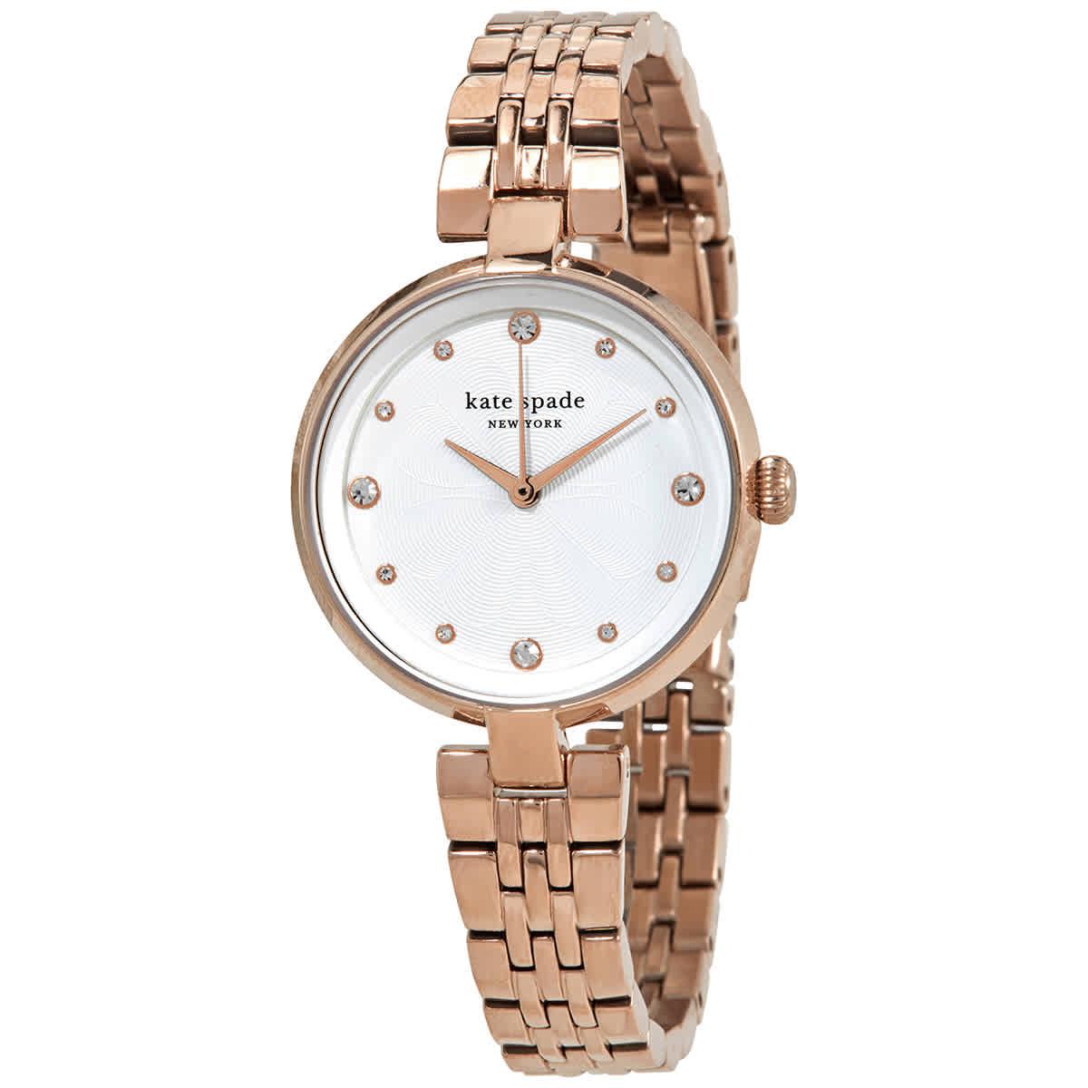 Kate Spade Annadale Quartz Crystal White Dial Ladies Watch Ksw1594 In Gold