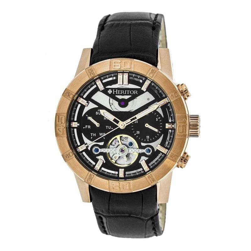 Heritor Hannibal Black Semi-skeleton Dial Rose Gold-tone Case Black Leather Strap Mens Watch Hr4106 In Black,gold Tone,pink,rose Gold Tone,silver Tone,two Tone