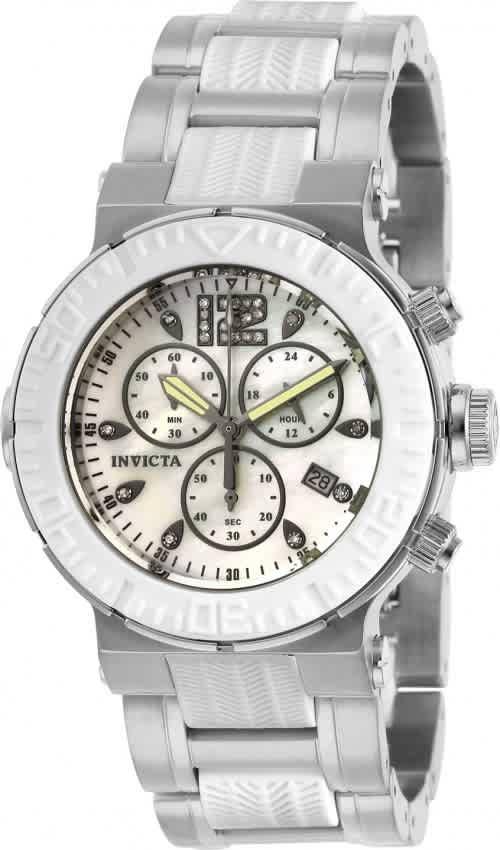 Invicta Ocean Reef Chronograph Quartz White Dial Ladies Watch 29666 In Metallic