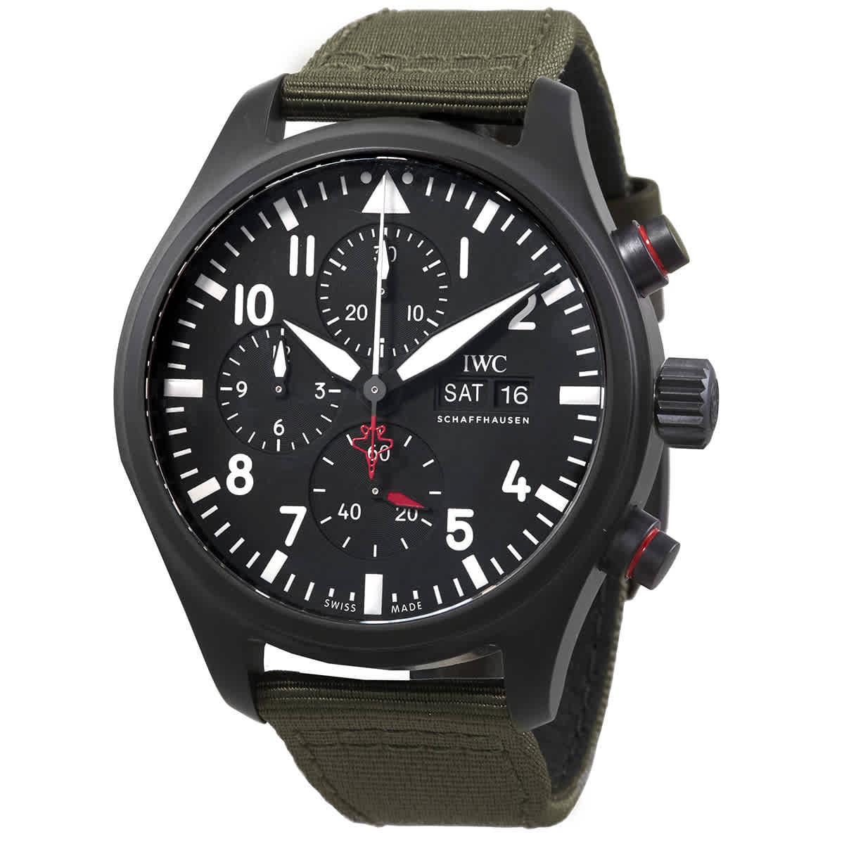 Iwc Schaffhausen Pilot Chronograph Top Gun ''sfti'' Automatic Mens Watch Iw389104 In Green