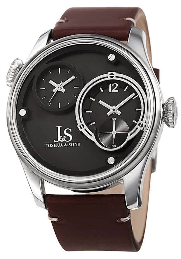 Joshua And Sons Quartz Grey Dual Time Dial Mens Watch Jx118ss In Brown