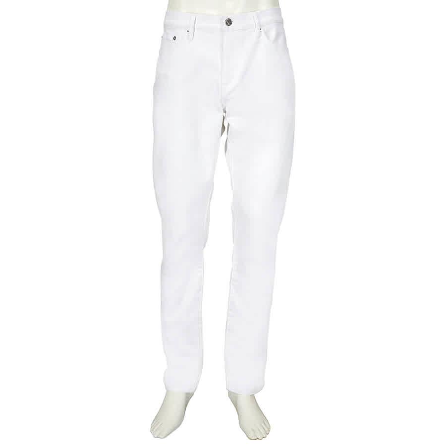 Burberry Mens White Slim Ffit Denim Jeans- Size 32r In Blue,white