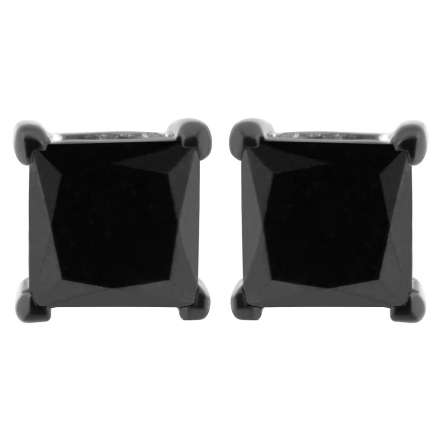 Haus Of Brilliance .925 Sterling Silver 1 Cttw Black Diamond Screw-back 4-prong Classic Stud Earrings (color-enhanced In Black,silver Tone,white