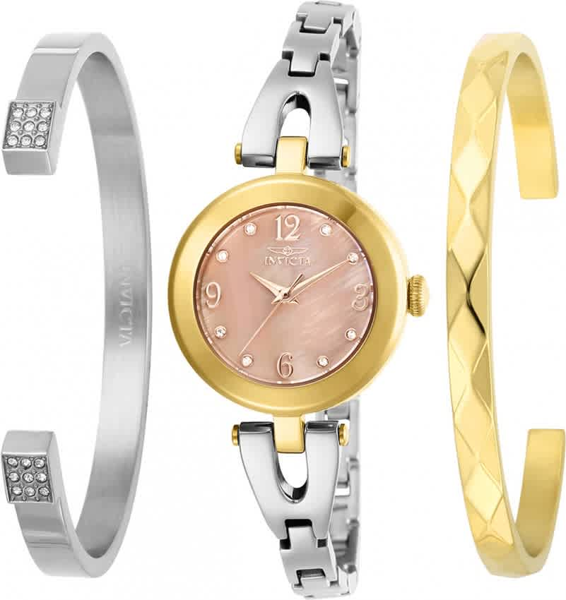 Invicta Angel Quartz Crystal Gold Dial Ladies Watch And Bracelet Set 29337 In Multi