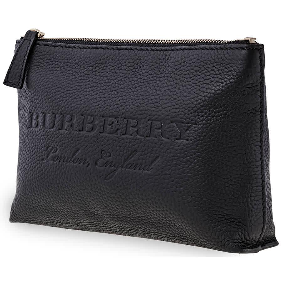 Burberry Medium Embossed Leather Zip Pouch- Black