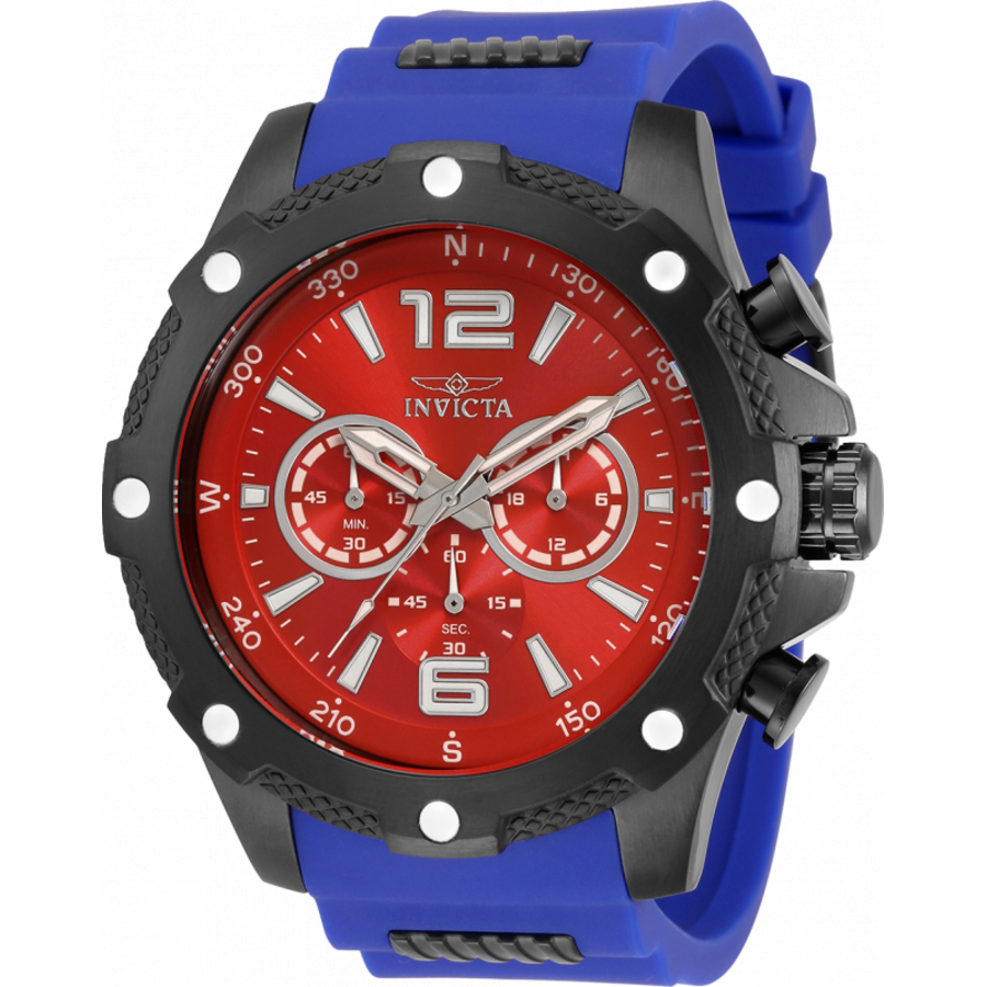 Invicta I-force Chronograph Quartz Red Dial Mens Watch 34020 In Black,blue,red,white