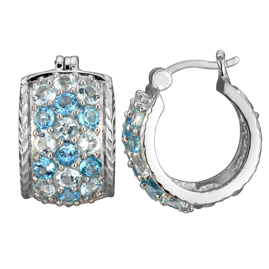 925 Couture Rhodium Plated Bronze Genuine Sky And Swiss Blue Topaz Hoop Earrings In Gray