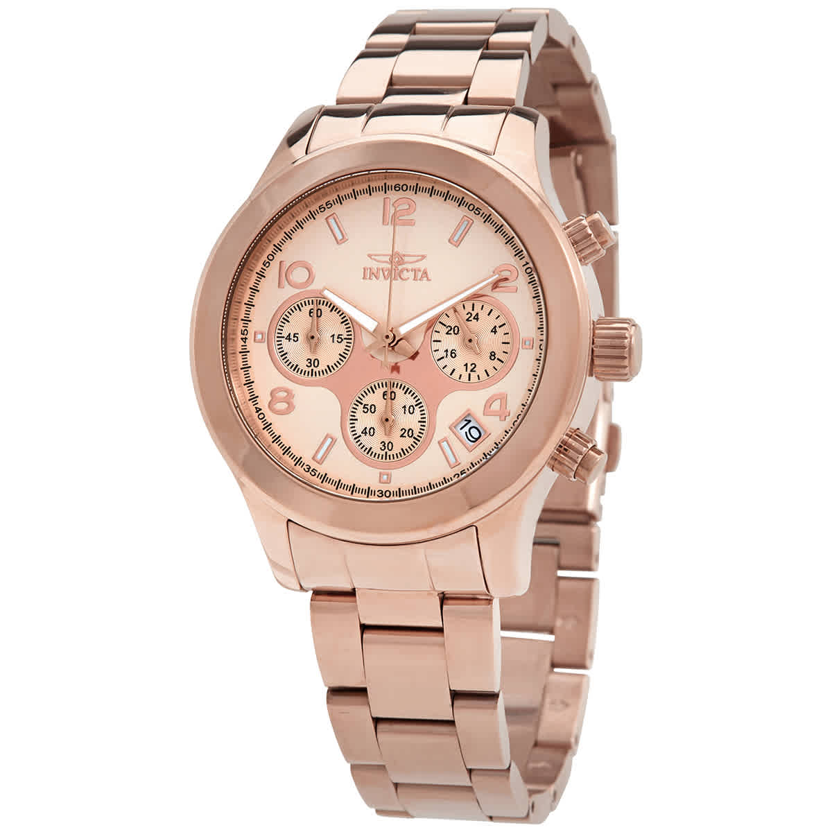 Invicta Angel Chronograph Rose Dial Rose Gold-tone Ladies Watch 19218 In Gold Tone,pink,rose Gold Tone